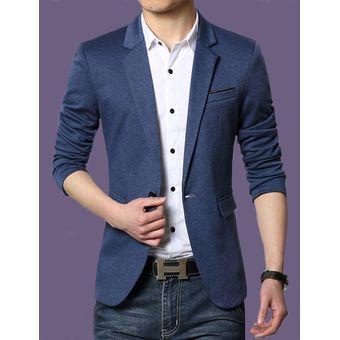 Juego Del Ocio Delgado Traje De Chaqueta Negocios Casual Blazers Para  Hombres- Azul Oscuro 780d8c76803