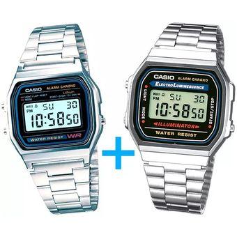 Set de relojes Casio Vintage 168 y A158 Plata