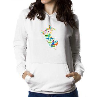 e0e00c7b254cc Compra Polera Con Capucha De Mujer Idakoos Peru Cool - Blanco online ...