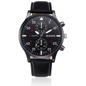 bc16362ad564 Banda de cuero de diseño retro relojes hombres-Negro