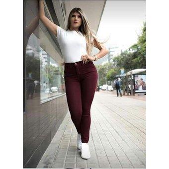 Pantalon Trabajo Vino Tinto Jean Drill Stretch Ajustado Alto Mujer Dama Linio Colombia Ge063fa0aui0xlco