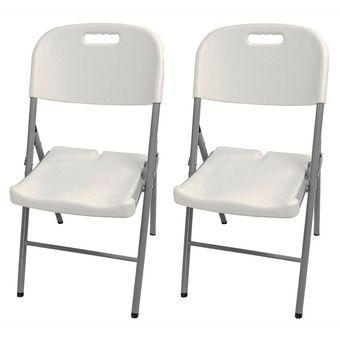 Kit set 2 sillas plasticas plegables reforzadas blancas for Sillas plasticas plegables