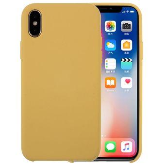 7fd720ef621 Para IPhone X Pure Color Liquid Silicone + PC Dropproof Protective Back  Cover Case (Amarillo