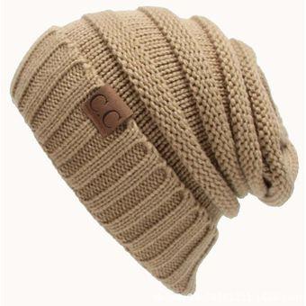 CC Carta Color Sólido De Lana De Tejer Sombrero Sombreros Concisa (Khaki) 0808bb2500c