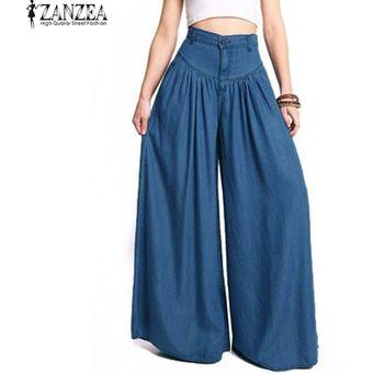 Pantalon Holgado Tiro Alto Zanzea Para Mujer Azul Linio Colombia Za402fa141iqklco