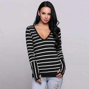 320a57557 T-shirt Rayas profundo V cuello algodón contraste Color manga larga para  Mujer - negro