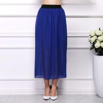 83d7968ff Vestido de falda de chifón de moda de mujer - Azul oscuro