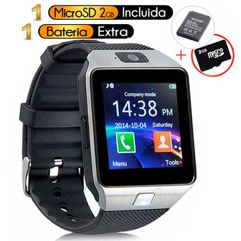 409ddbd9170 Reloj Inteligente Tipo GEAR 2, Bateria Extra, MicroSD 2GB, SmartWatch Dz09  2018 -