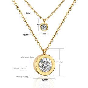fcd0b44ce6cc Collar Acero Inoxidable Harmonie Accesorios Cadena Duo Dijes Dorado