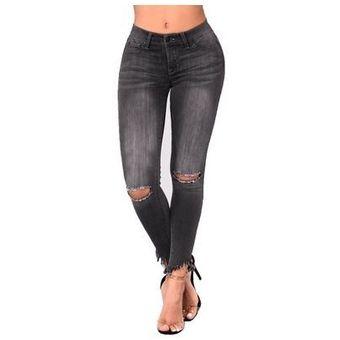 Jeans Rasgados En Tallas De Mujer Negro Linio Colombia Oe189fa0zxs8hlco