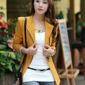 ee3706e712c37 Chaqueta De Punto De Chaqueta De Corte Slim Casual De Mujer -amarillo