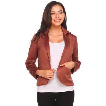 cfc131a0524ce Zeagoo Traje Saco Casual Blazer Jacket Con Bolsillo Casual Modern Casa Para  Mujer-Marrón Oscuro