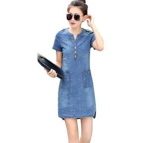 DG Vestido Suelto Con Cuello En V Mangas Cortas Denim-Luz Azul 0f70eb9a9c13