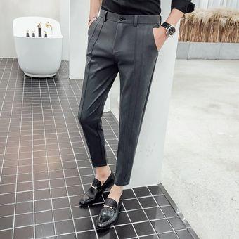 Pantalones De Traje De Estilo Casual Para Hombre Pantalones Tobilleros A La Moda Pantalones Pitillo De Color Liso Dark Gray Linio Peru Un055fa0zqe1plpe