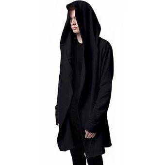 lo último ce499 ada57 Hombres Chaqueta Con Capucha Negro Vestido Mejor Calidad Hip Hop Mantle  Hoodie Sudaderas Manga Larga Capa Abrigos Outwear Hombre Moda-black