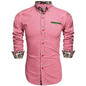 COOFANDY Camisa Casual manga larga bajar cuello bolsillo delantero suelto  Tops botones Estore para hombres- ab70330252b
