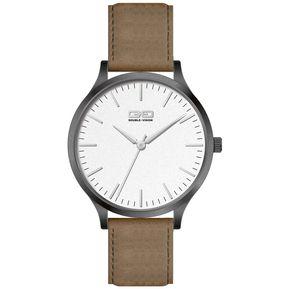9d9490fb049b Reloj Mob Gun Metal White Leather Double Vision