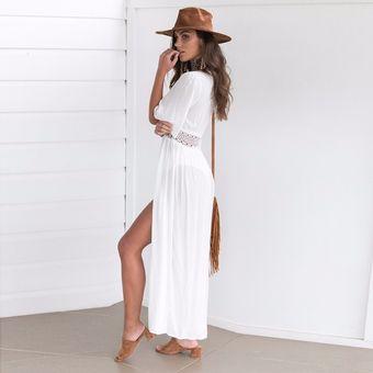 047b5f432c8 Kimono Cárdigan Largo Blanco - Ropa de playa para Vestido de Baño o Bikini