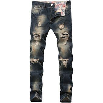4a12040ec Compra Pantalones Vaqueros Rotos De Hombre Slim Denim Pencil online ...