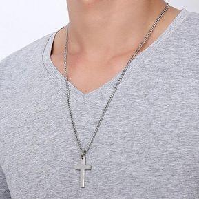 de78469df573 Collar de cadena de acero inoxidable cruz colganteregalo de joyería para  Unisex-Gris plata