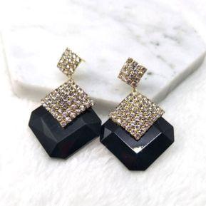 2e2d89069f1d EY 1 par de Moda Pendientes Earring Cristal luminoso creativo Joyas-Negro