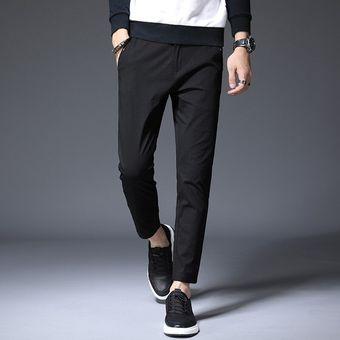 Pantalones Hasta El Tobillo De Primavera Y Verano Para Hombre Pantalones Informales Ajustados A La Moda Para Hombre Pantalones Negros De Talla Grande 28 36 38 De Marca De Algodon Xyx Black