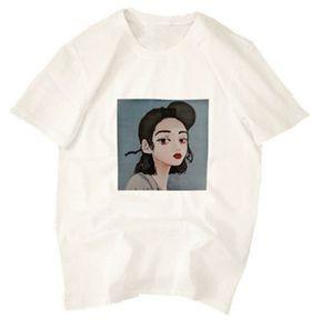 Moda chicas T-shirt elasticidad sueltas DE MANGA CORTA Camiseta impresa  Tops Azul eb0380a0fd0