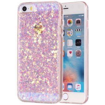 cd3ae0040cb Para IPhone 5 Y 5S Y El Polvo Del Brillo Suave TPU Funda Protectora (rosa