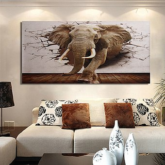 ac42e8f352 Agotado 3D Cuadros Pintura Elefante Enorme Decoración Pared Mural Moderno  Hogar