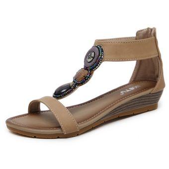 De Cuña Calzado Ocasionales Beige Mujer Romanos Grande Zapatos Sandalias wOvmN80n