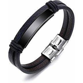 4bf713eee4d5 pulsera manilla en cuero placa en color negra en acero inoxidable pulido  doble pulsera de cuero