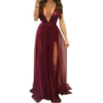 408c2ab59 Vestido de Noche E-Thinker lentejuelas y tirantes E-Thinker para mujer -  Rojo