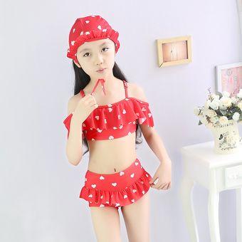 diseño profesional replicas bueno 2-12 Años Nueva Bonita Bikini Traje De Baño De Los Niños Del Nuevo Verano 3  Piezas - Rojo