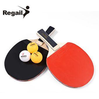 4a45e16f7d Conjunto de raqueta de Ping Pong REGAIL A508 Dos Raquetas y Tres bolas -  Negro