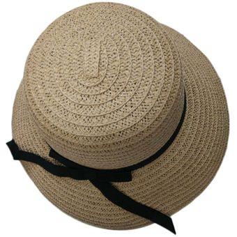 EW La playa del sombrero de paja de ala ancha grande de color caqui-caqui b86d2ffb348