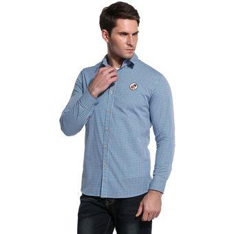 Compra Camisa Cuadrado Botones Para Hombre -Azul online  cf36cbab7823e