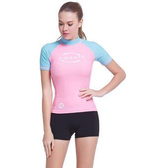 Las Mujeres Trajes De Baño De Camiseta De Licra De Surf Buceo Snorkeling  Tops - Rosa ffc5acaf1e0