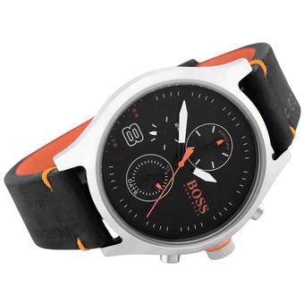 7f93ed5a6a8b Reloj Hugo Boss 1550020 Amsterdan Acero Inoxidable Correa De Cuero - Negro  Naranja