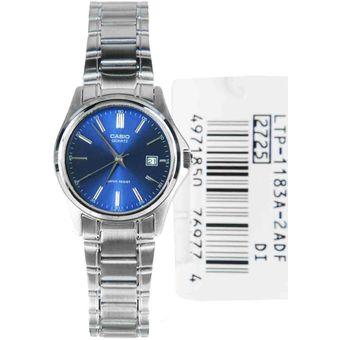 a8f3a15fab59 Compra Reloj Casio Mujer LTP 1183A 2A - Plateado fondo Azul online ...