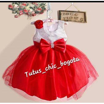 Vestido Niña Elegante Lentejuelas Roja Plata