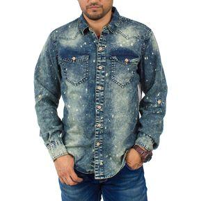 Camisa De Mezclilla Manga Larga Brands Unlimited RWW250 Efecto Desteñido 7889f61799c