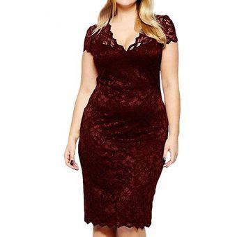 2ce6276b69 Compra Vestidos Mujer De Encaje Cuello V - Rojo online