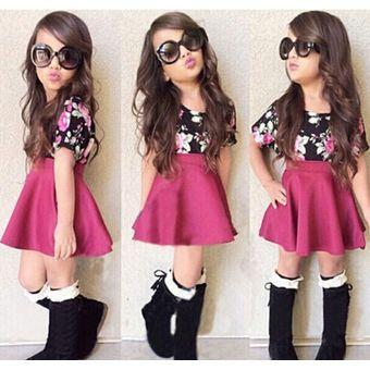 de225991f Traje de dos piezas de moda para niña modelo camisa + falda