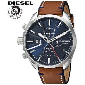 2d013c74623a Reloj Diesel MS9 DZ4470 Cronometro Acero Inoxidable Correa de Cuero -  Marrón Azul