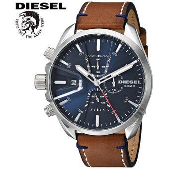 8ee87c10fb4 Reloj Diesel MS9 DZ4470 Cronometro Acero Inoxidable Correa de Cuero -  Marrón Azul