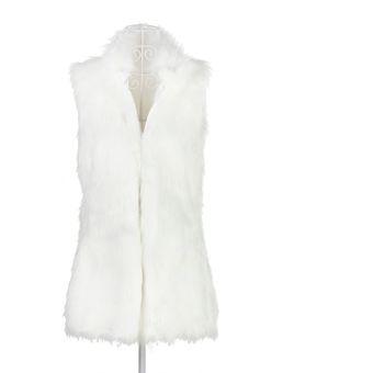Chica hermosa mujer Forro de piel falsa invierno chaleco largo abrigo  caliente 34f9fd3350388