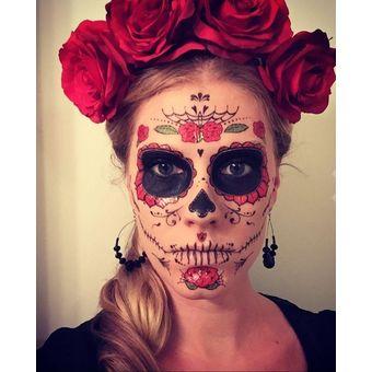 0b47afc1e Compra Disfraz Catrina Mexicana Con Balaca Tatuaje Temporal - Rosas ...
