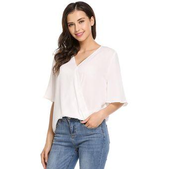 1c04537ec1 Blusa De Modal Moda V-cuello Profundo Manga Corta De Gasa Sólida Camiseta  Modern Casa