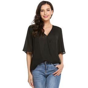 95ec6b800a Blusa De Modal Moda V-cuello Profundo Manga Corta De Gasa Sólida Camiseta  Modern Casa