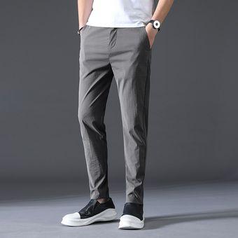 Moda De Pantalones Largos Informales De Negocios Para Hombre Pantalones Rectos Elasticos Pantalones Formales Talla Grande 28 38 Wot Gray Linio Chile Ge018fa1i9f35lacl